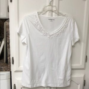 beaded simple white top Croft & Barrow size large